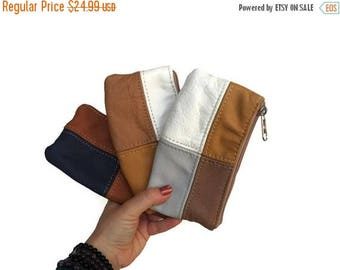 ON SALE Mini Cosmetic Bag, Leather Coin Bag, Small Leather Pouch, Colorful Bags, Trendy Purses
