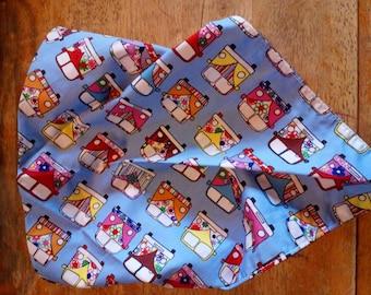 "A hand made dog bandana 29"" x 15"" made with campervan fabric"