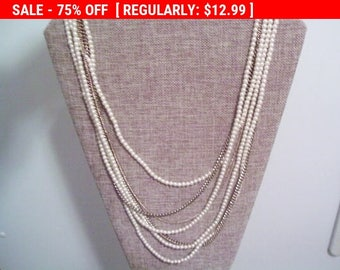 SALE multi strand chain bead necklace, statement necklace, hippie, boho, estate jewelry
