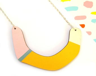 Geometric Necklace - Half Moon Necklace - Horse Shoe Pendant - Contemporary Wooden Jewellery - Yellow Necklace - Unusual Gift - Statement