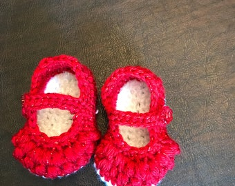 Baby booties - crib shoes - Mary Janes