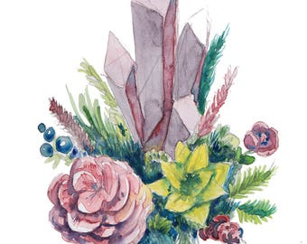 Floral Crystals Print of my original illustration Witch Potion Terrarium Nature Plants Watercolor Gift for him Gift for her Art