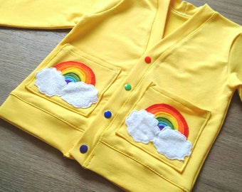 Rainbow applique cardigan, baby and child