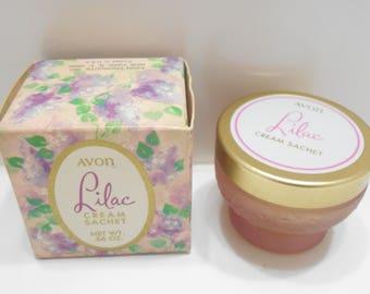Vintage Avon Lilac Cream Sachet (19-D) Lilac Frosted Jar