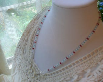 July 4th, Red White and Blue Beaded Necklace, Eyeglass Necklace, Sunglasses Necklace, Reading Glasses, Americana Necklace, Eyeglass Leash
