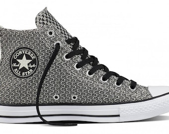 Converse High Top Black White Gray Static Knit woven crochet Custom w/ Swarovski Crystal Rhinestone Mens Chuck Taylor All Star Sneakers Shoe