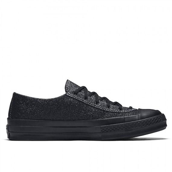 JW Anderson Converse Black Vintage 70s Custom Glitter Low Top w/ Swarovski Crystal Rhinestone Chuck Taylor All Star Sneaker Trainer shoe