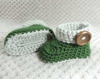 Green Baby Boots, Green Baby Shoes, Green Gray Booties, Baby Boy Shoes, Pregnancy Reveal, Gender Reveal, Baby Gift, Cuffed Baby Boots