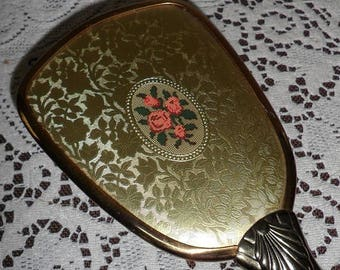 "ON SALE Vintage Hand Held Brush Hairbrush Pink Roses Flowers Ornate Gold Plated Design 10"" long Retro Vanity Dresser Decor 1940s 1950s"
