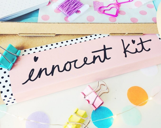 Featured listing image: INNOCENT KIT October Monthly Box Filled with Creative Goodies, Embroidery Kits & Gorgeous Stationary Subscription club craft lovers - mature