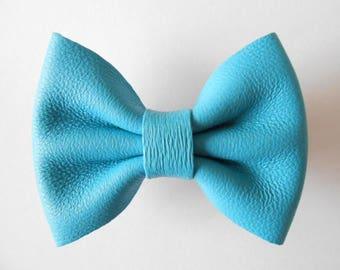 Blue leather bow clip handmade 5.5 X 4 cm