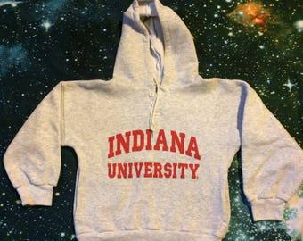 Vintage Indiana University Hoosiers Crop Top Hooded Sweatshirt
