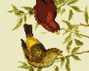 Needlepoint Kit or Canvas: Scarlet Finch