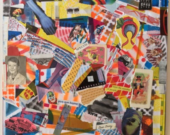 """Mixed media collage. """"Caffeine & Vitamins"""" mixed medium outsider art. Abstract collage."""