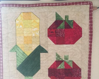 Eat Your Vegetables! Mini Quilt Wall Hanging with corn and tomatoes