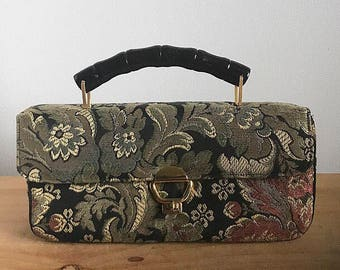 1960s Crown Lewis Brocade Purse in Black, Gold, Olive Green and Rust Brown with Gold Fixtures
