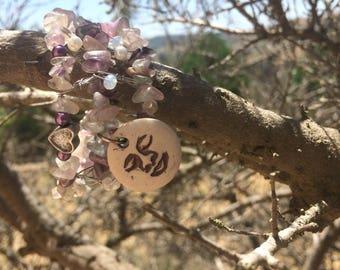 Moon Baby- amethyst and rose quartz cuff bracelet