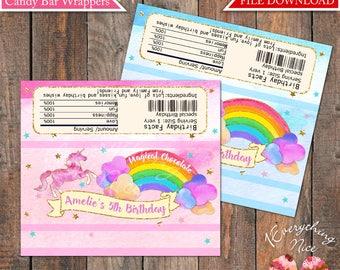 Unicorn Rainbow Birthday 1.55 oz Hershey Bar Candy Chocolate Wrappers Digital Download