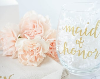 Matron of Honor Stemless Wine Glass - Maid of Honor Gift - Bridesmaids Gift - Wedding Party Wine Glass - Gift for Matron of Honor