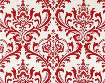 "Red and White Traditions Damask Fabric Remnant 13"" x 82"""