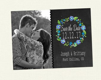 100 Printed Custom Save the Date with photo and your colors, postcard back or envelopes