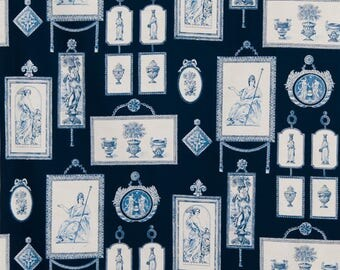 STROHEIM & ROMANN NEOCLASSICAL French Toile Fabric 10 Yards Blue White