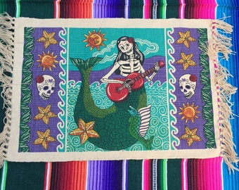 Set of 4 Day of the Dead Placemats - Dia de los Muertos - Frida Mermaid Virgin Mary