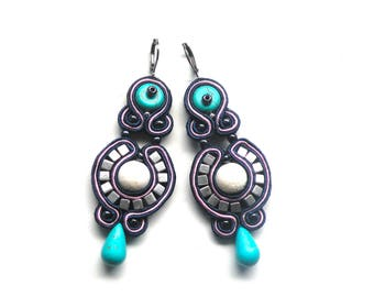 Earrings-soutache-Dangle earrings-Hand Embroidery-soutache earrings - OOAK Evening
