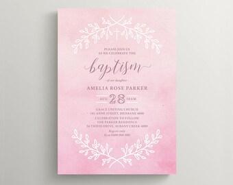 Printable Girl Baptism Invitation \ Girl Christening Invite \ Pink Watercolour (CH80)