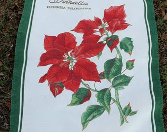 Beautiful vintage Christmas poinsettia cotton/linen tea towel by Williams Sonoma - made in Italy