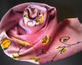 Pink hand painted silk scarf,silk lapel scarf, luxury accessories, gifts for her,women's scarves,Christmas gifts, one of a kind silks