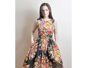 JULY 20 OFF Floral Cotton Dress, Day Dress, 100% Cotton, Custom made, Midi Cotton Dress, 50's dress
