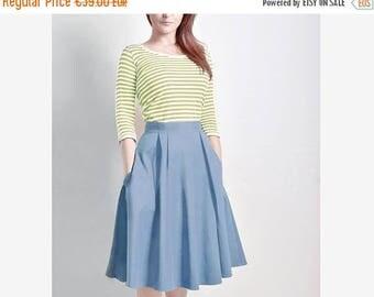 AUGUST 20 % OFF Steel Blue Skirt, Midi skirt, Flared Skirt, Cotton Sateen skirt with Pockets