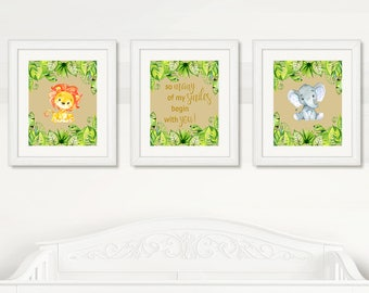 BEAUTIFUL Elephant & Lion Nursery Wall Art, Boy Nursery Cute Animals Wall Decor, Instant Download, Watercolor Safari Wild Animals