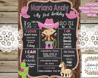 Cowgirl 1st Birthday Chalkboard - COWGIRL 1st BIRTHDAY customized CHALKBOARD - Cowgirl inspired Poster - 2nd 3rd 4th 5th birthday All Ages