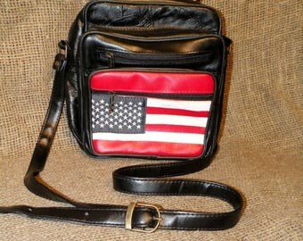 SALE Vintage Shoulder Bag / Black Patchwork Bag / Leather Shoulder Bag / American Flag / American Bag / Man Shoulder Bag / Messenger Bag