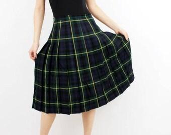 SALE Vintage Plaid Skirt / Accordion Skirt / Wool Skirt /  Lady Harrington / Tartan Skirt / Vintage Skirt / Boho Skirt / Checkered Skirt
