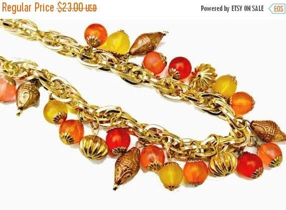 tutti fruiti bead Necklace - colorful Lucite Bead -  orange yellow - gold chain  collar necklace
