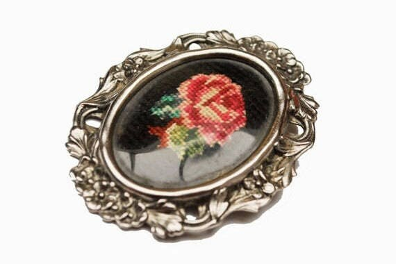 Rose Brooch pendant -pink Cross Stitch - silver frame Pin
