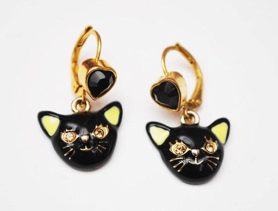 Black cat earrings- Enamel yelow rhinetone = dangle pierced earrings -Halloween