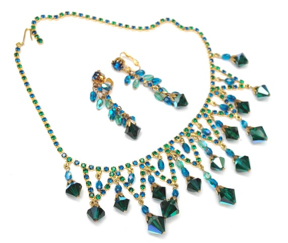 Agua Crystal Rhinestone Bib Necklace EArrings SEt Demi  - Blue green Dangle Aurora Borealis Crystal - Clip on earrings  - Statement Necklace