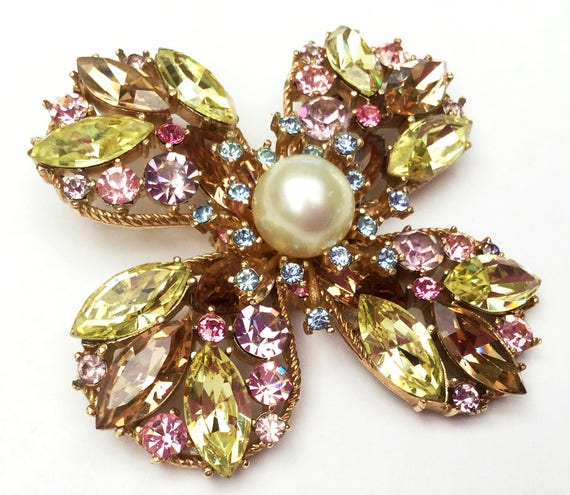 Crown Trifari  Rhinestone Brooch  - Maltese Cross- White Pearl - Yellow pink blue chamagne crystals - gold - floral pin
