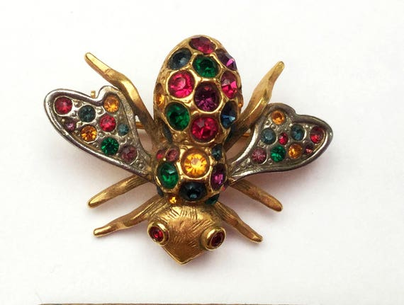 Rhinestone Insect  Brooch - Bubble Bee - Colorful crystal - gold silver - wasp - Figurine pin