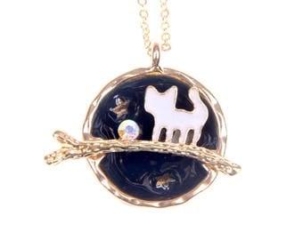 Necklace cat and moon