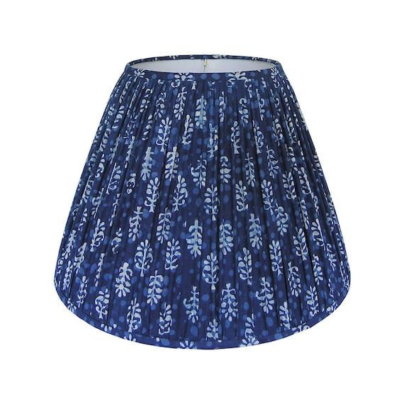 Blue gathered lamp shade indigo blue lampshade indian block like this item aloadofball Choice Image