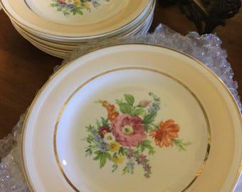 "Set of Eight 7 1/4"" Dessert Plates-Floral Design Heavy Gold Trim-Edwin Knowles"