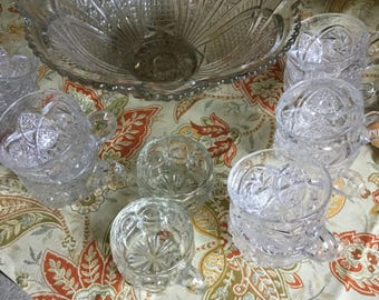 American Brilliant-EAPG-Pinwheel Cut Glass Punch Bowl/Pedestal/Cups-Wedding/Party/Easter/Holiday