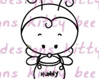 Honey Bumble Bee Digital Stamp