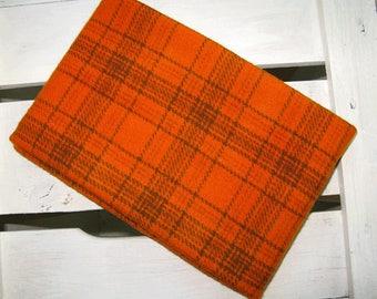 Felted Wool Fabric - Hand Dyed Wool Fabric in Oriole Fat Quarter - Plaid - Applique or Rug Hooking Wool