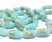 Vintage Aqua Frosted Glass Millefiori Baroque Oval Glass Tombo Beads 14x8mm Sea Glass – 6